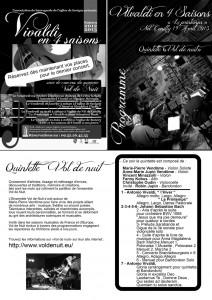 Programme remis aux spectateurs pour le concert du Printemps.