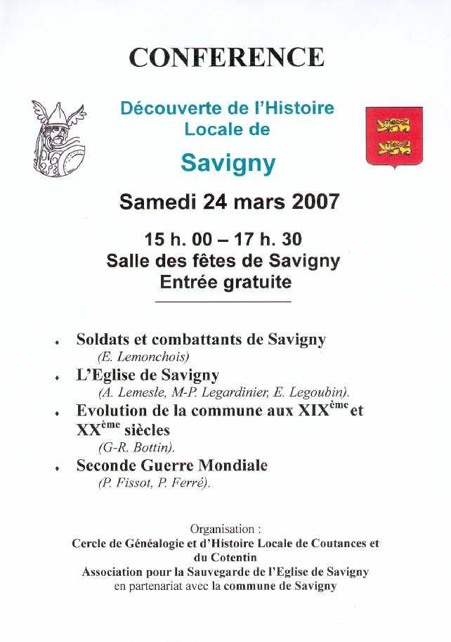 Affiche de la conférence du CGHL de Coutences