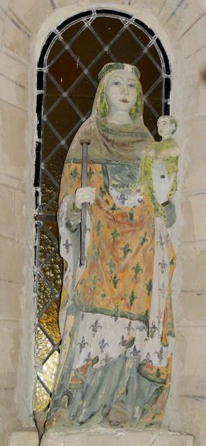Église de Savigny - statue de vierge gothique Pierre polychrome