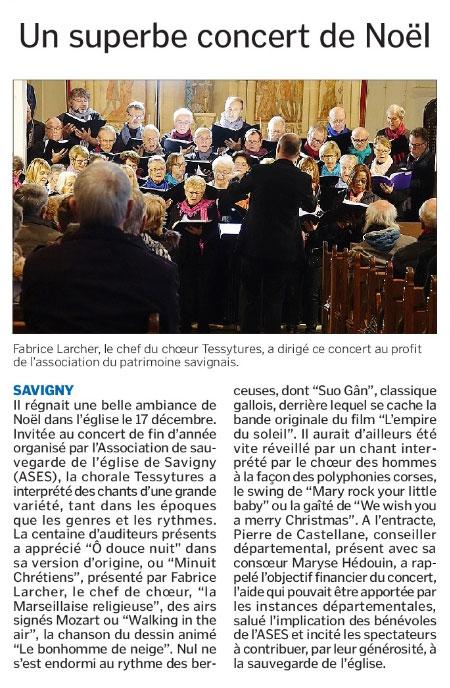 Article consacré au concert du17 décembre 2017 en l'église Notre Dame de Savigny