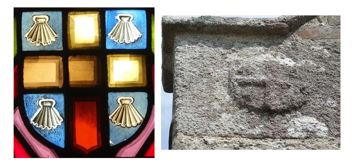 Blason famille Michel - vitrail et fronton de l'église de Savigny