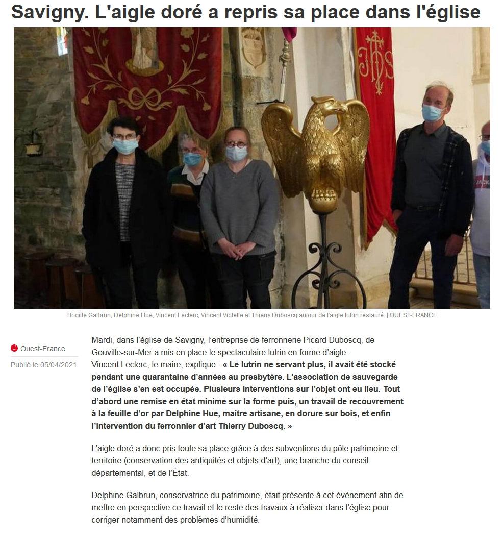 ArticledeOuest-France sur le retour du lutrin dans l'église